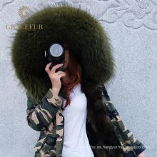 Completo diseñador de parka de piel de invierno en línea de producción con forro de piel