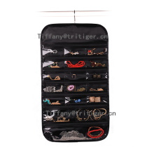 High quality Silk fabric hanging wall storage pockets organizer for Jewelry