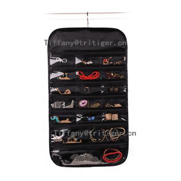 High quality Silk fabric hanging wall storage pockets organizer for Jewelry