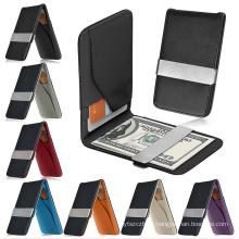 Monedero de cuero genuino delgado titular de la tarjeta del clip de dinero ID de cartera de cuero