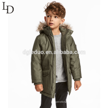Fashion children winter animal fur hooded long jacket winter down coat for boys