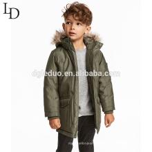 Moda crianças inverno pele de animais com capuz longo casaco de inverno para baixo casaco para meninos