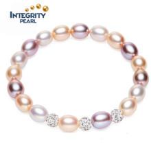 Bracelet en perle cultivé Bracelet en perles naturelles Braid de couleur mixte au riz AAA 7-8mm
