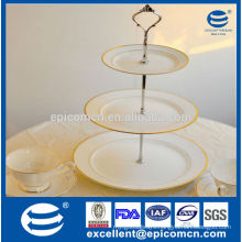 3 tiers cake stand / fruit plate with elegant painting, gold decoration