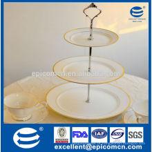 3 tiers bolo stand / prato de frutas com pintura elegante, decoração de ouro