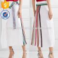 Nova Moda Branco Embelezado Seda-georgette Midi Saia DEM / DOM Fabricação Atacado Moda Feminina Vestuário (TA5143S)