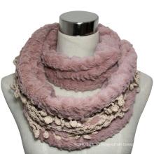 Мода искусственного меха бесконечность шарф с отделкой кружевом (YKY4368)