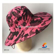 Camuflaje de encargo Sombrero de la pesca de la alta calidad Sombrero hecho a mano al por mayor del cubo de la teñido anudado al por mayor