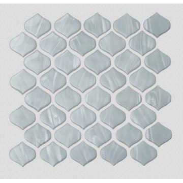 White Stone Pattern Glass Mosaic Tiles For Kitchen
