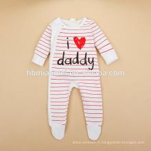 2016 nouveau design dépouillé bébé barboteuse j'aime maman maman j'aime à manches longues coton rouge et blanc décapée bébé barboteuse