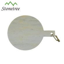 Placa de queijo de mármore natural branca por atacado do conselho da placa de desbastamento com punho