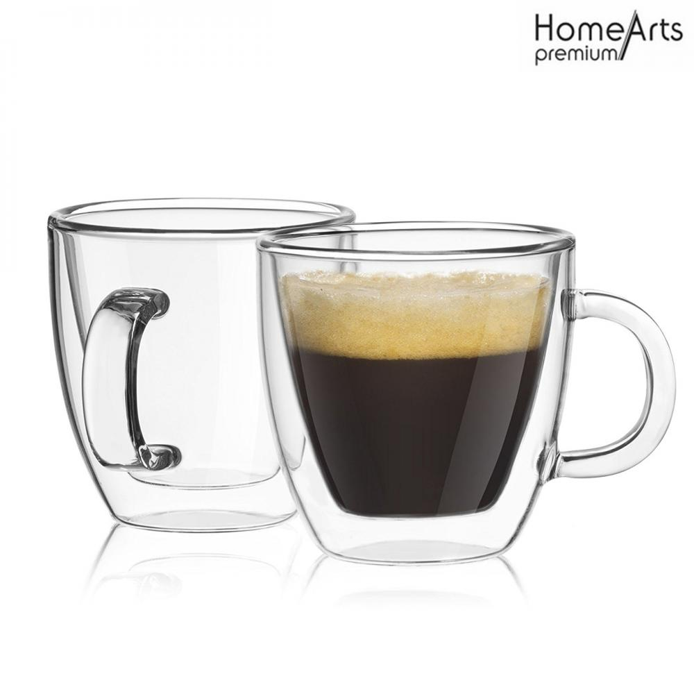 Double wall Insulated Glass Coffee Mug or Tea Cup for Latte, Cappuccino