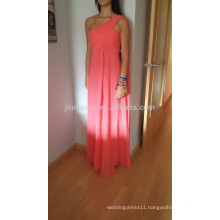 Hot Sale One Shoulder Cheap Bridesmaid Dreses for Wedding 2016 A-line Chiffon Evening Dresses Long Prom Dress Formal Party Dress