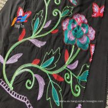 Tela de bordado de melocotón de lana de poliéster negro formal 100