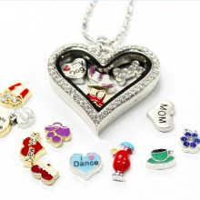 Heart Shape Crystal Stainless Steel Living Floating Locket Pendant