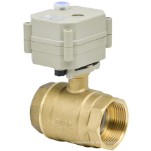 2 maneras 1-1 / 4 '' Válvula de bola de latón motorizada válvula eléctrica de agua con manual (T32-B2-B)