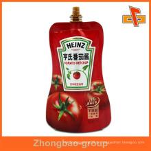 Bunte Stand up Lebensmittel Grade Saft Plastikbeutel für BBQ Sauce 100ml 200ml