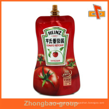 colorful stand up food grade juice plastic bag for BBQ sauce 100ml 200ml