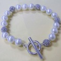 Handmade White Pearl Bracelet Charms with Crystal Ball