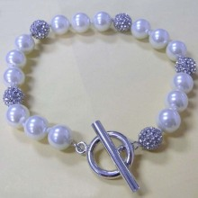 Hot Sale for Link Charm Bracelets Handmade White Pearl Bracelet Charms with Crystal Ball export to Madagascar Factory
