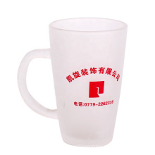 Custom glass water cup frosted coffee glass cup with logo 335ml with handle