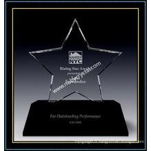 Récompense Triumph Star en cristal transparent avec base noire (NU-CW866)