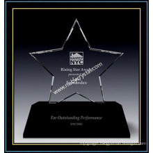 Transparent Crystal Triumph Star Award with Black Base (NU-CW866)