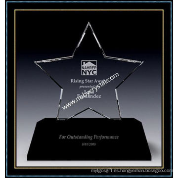 Crystal Triumph Star Award transparente con base negra (NU-CW866)