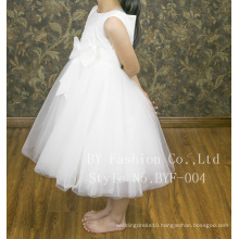 Sleeveless simple lovely bow flower girl dress patterns for wedding