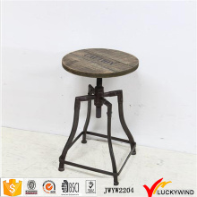 Retro Custom Wood Metal Round Bar Stools