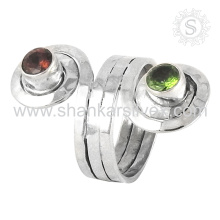 Antique Indian Design 925 Silver Jewelry Peridot Garnet Ring Wholesaler Silver Jewelry