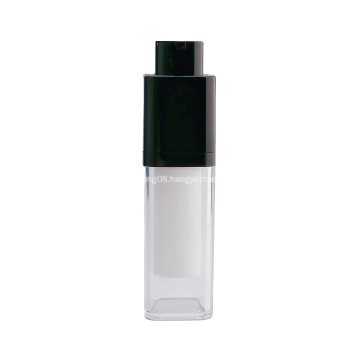 Rotate cosmetic airless bottle double wall white airless pump bottle for personal skin care use