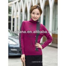 Camisola 100% de cashmere tricô mulher
