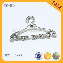MC638 Custom Kleiderbügel Form Metall Logo Etikett Metall Näh Tag für Schal