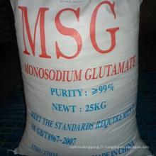Glutamate monosodique au plus bas prix 99% avec qualité élevée
