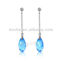 925 silver chain earrings austrian crystal aquamarine earrings