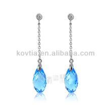 925 brincos da corrente de prata brincos de cristal aquamarine de cristal austríacos
