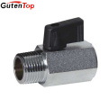 GutenTop High Quality 3/8inch bsp male and female thread mini brass ball valve with black handle for water air oil and gas