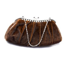 Elegant Fur-effect Evening Bag with Decorative Rhinestones and Pleats Design