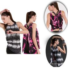 Mais recente design personalizado poliéster spandex camisola das mulheres de fitness
