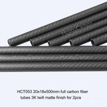 Tubo de fibra de carbono 20x18x500mm para brinquedos de RC