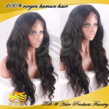 Peruca completa indiana do cabelo humano do laço de 100% 24inches com cabelo do bebê para mulheres negras