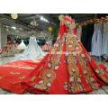 2018 nouvelle conception de style chinois robe de mariée usine d'approvisionnement avant court long dos brodé de luxe robe de mariée de couleur rouge