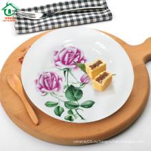 Пион Кружева дешевые фарфоровые тарелки ужин