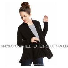 Черный открытый кашемир кардиган вязаный свитер