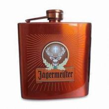 Paint Coating Hip Flask, Made of Stainless Leather and Steel, with Non-lead Welding