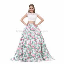 2017 artículos en existencia y sexy vestido de noche tarde 2 piezas elegantes vestidos de noche largos 2017 con top blanco atado