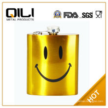 FDA 8oz Gold paint cheap wine pot with Smiling face