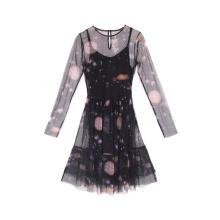 Женское сетчатое платье-туника с круглым вырезом