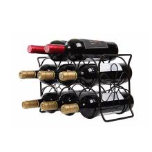 9 Bottle Tabletop  Black Spray Coated Metal  Metal wine holder